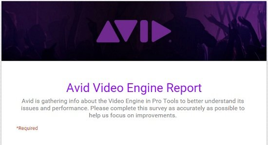 Participate in Avid's Pro Tools Video Engine Customer Survey - The
