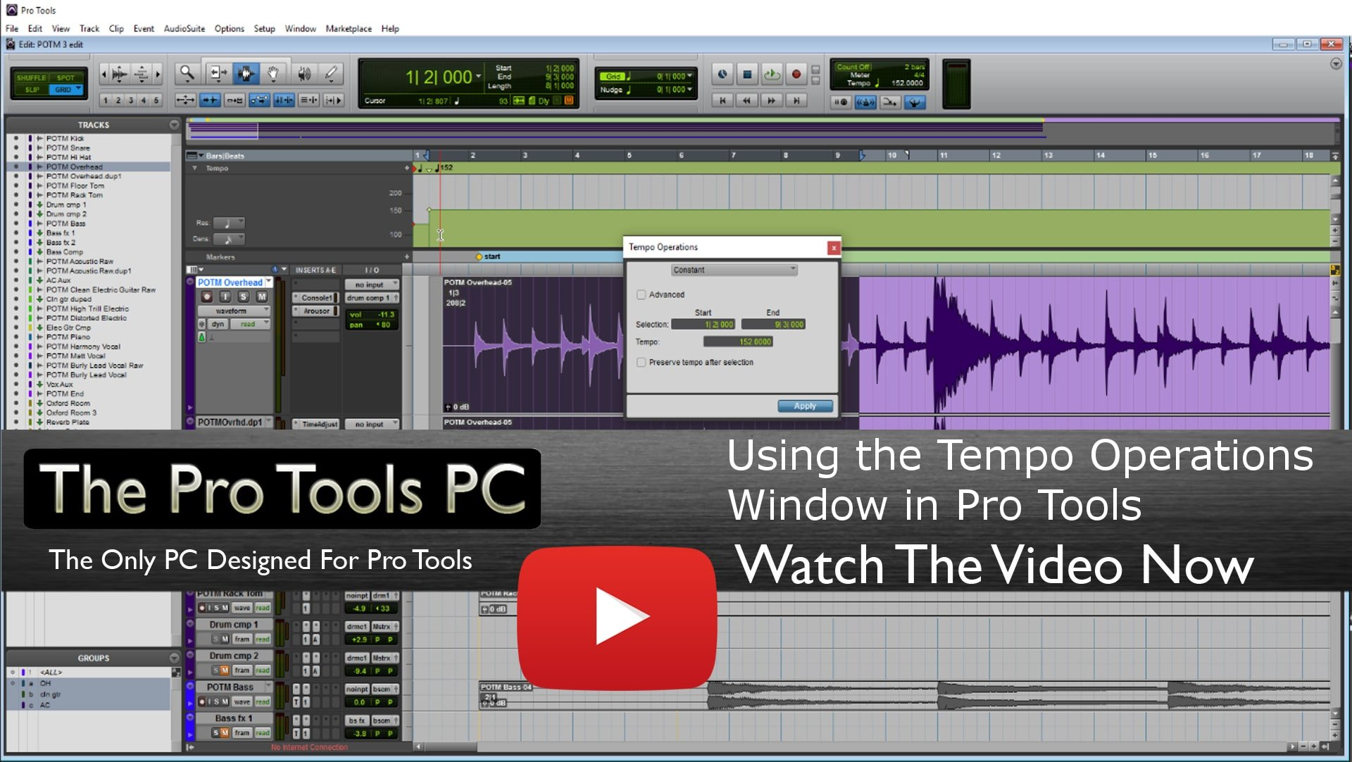Pro Tools Tempo Operations Window Video Tutorial