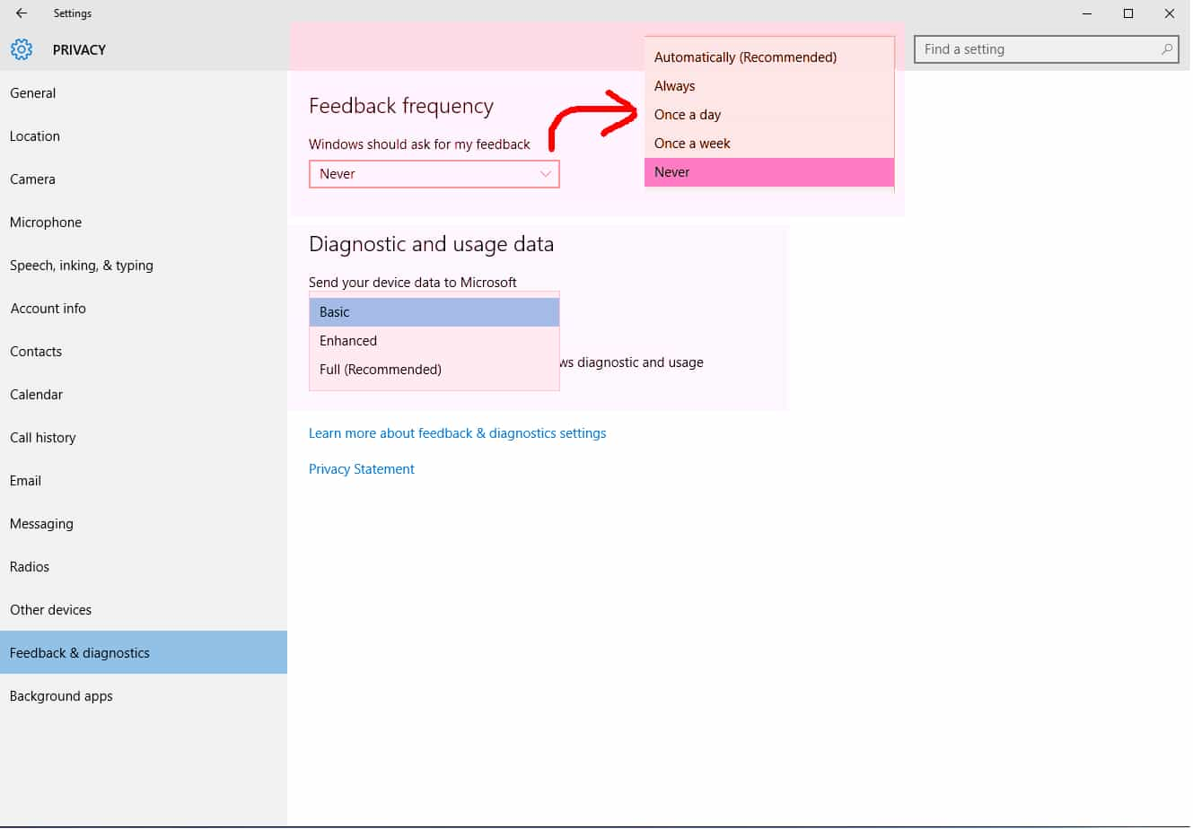 Windows Feedback frequency